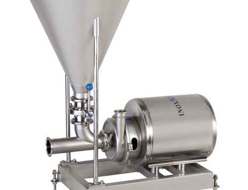 Solid-liquid blender mixing equipment for soluble products.